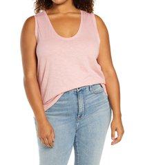 plus size women's caslon muscle tank, size 1x - pink