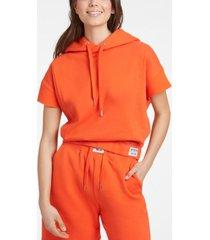 women's short sleeve cropped hoodie