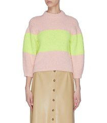 'cozette' colourblock intarsia alpaca wool blend sweater
