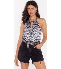 womens girl like you zebra print bodysuit - white