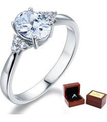 affordable sterling 925 silver wedding / promise ring 1.5 ct oval lab diamond