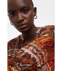 see-through boho print blouse - red - xxl