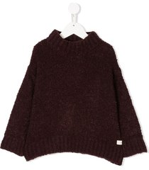 tiny cottons fluffy mock neck sweater - red