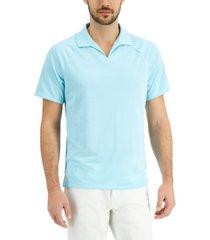 alfani men's textured johnny collar polo shirt, created for macy's
