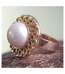 gold plated cultured pearl flower ring, 'white cuzco bloom' (peru)