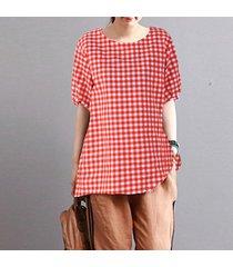 zanzea mujeres más el tamaño de la blusa de tela escocesa camiseta compruebe la vendimia de boho tapa de la túnica -rojo