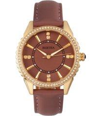 bertha quartz clara collection mauve leather watch 39mm