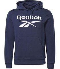 buzo running reebok identity big logo - azul-blanco