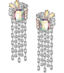 inc silver-tone crystal & stone fringe statement earrings, created for macy's