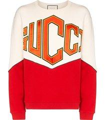 gucci logo-embroidered panelled sweatshirt - neutrals