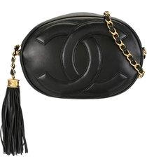 chanel pre-owned 1990s tassel cc shoulder bag - black