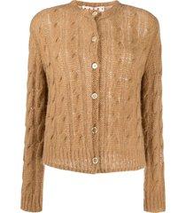 marni open knit cardigan - brown
