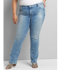 lane bryant women's straight fit high-rise straight jean - light wash 14 light denim