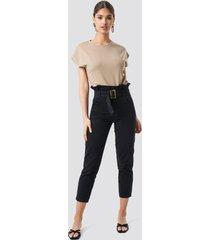na-kd trend paperbag jeans - black
