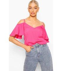 geweven hemdje met blote schouders, warm roze