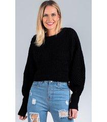 sweater corta oversize negro night concept