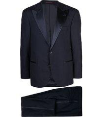 brunello cucinelli v-neck tuxedo jacket - blue