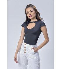 blusa body dama negro di bello jeans  classic blouse ref b248