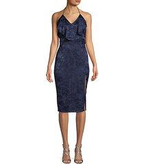 sleeveless palm printed dress