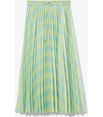 proenza schouler white label diffused gingham georgette pleated skirt shdwlime/blglss diff ging/green xs