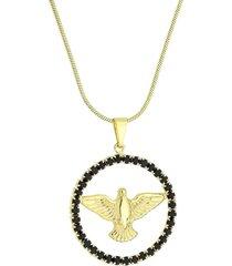 colar divino espirito santo com cristais preto 3rs semijoias dourado