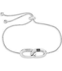 rhodium-plated & cubic zirconia interlocking illusion lock bolo bracelet