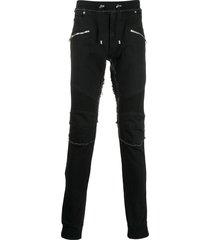 balmain frayed skinny trousers - black