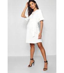 maternity ruffle tie waist smock dress, ivory