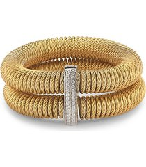 kai 18k white gold & yellow-tone stainless steel diamond tiered coiled bangle bracelet