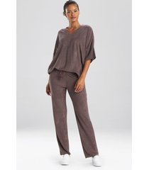 terry lounge top pajamas, women's, brown, size s, n natori