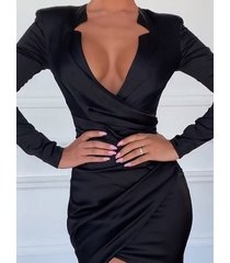 envoltura negra con cinturón y lazo diseño con dobladillo largo y manga larga vestido