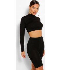 2 pack high neck top & cycling shorts co-ord set, black
