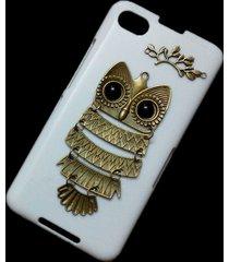 cute retro bronze metal owl branch hard back skin case cover for blackberry z30