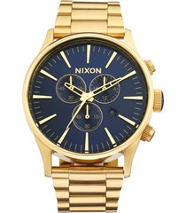 nixon 'the sentry' chronograph bracelet watch, 42mm in gold/blue at nordstrom