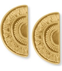 lucky brand gold-tone etched semi-circle drop earrings