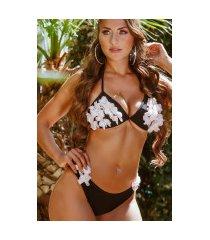 sexy bikini-set met bloemen en cups zwart