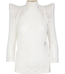 balmain white monogram top with structured shoulders