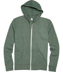 alternative apparel men's hunter green modern fit full zip eco jersey hoodie - size: small
