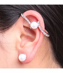 orecchini da sposa con perline con perline artificiali di cristallo intarsiato placcato oro asimmetrico da donna
