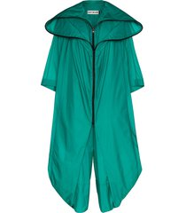 issey miyake air long hooded cape-effect jumpsuit - green