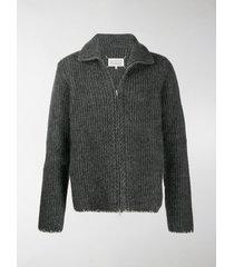 maison margiela ribbed-knit zipped cardigan