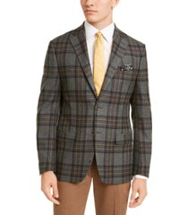 tallia men's slim-fit gray/blue windowpane plaid sport coat