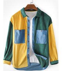 incerun camisa de bloque de color de retazos con parte superior de pana informal para hombre