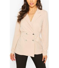 double breasted cinched in waist blazer, stone