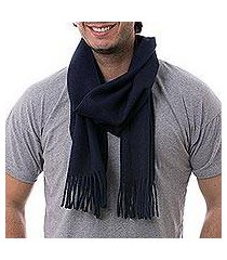 men's 100% alpaca scarf, 'midnight blue' (peru)