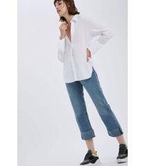 calca reta detalhe barra jeans