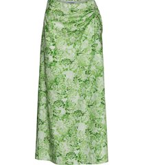printed cotton poplin knälång kjol grön ganni