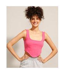 regata cropped corset alça larga decote reto rosa