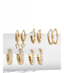 women's baublebar liza set of 5 huggie hoop earrings