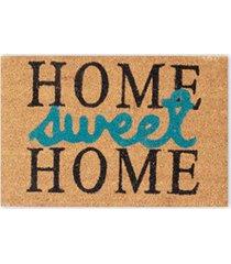 capacho em fibra de coco sweet home 40x60cm preto e azul